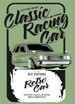 Classic racing car, illustration of a classic race car