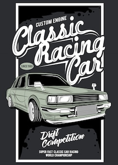 Classic racing, illustration of a classic race car