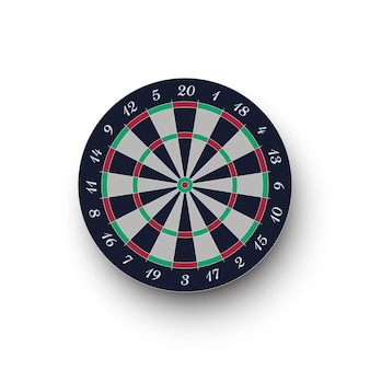 Classic realistic darts board isolated on white background