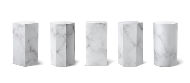 흰색 배경에 설정된 고전적인 현실적인 흰색 대리석 3d 연단 박물관. 빈 무대, 제품 프레젠테이션을 위한 받침대. 벡터 빈 받침대 세트입니다. 3d 모양. 대리석 질감입니다.