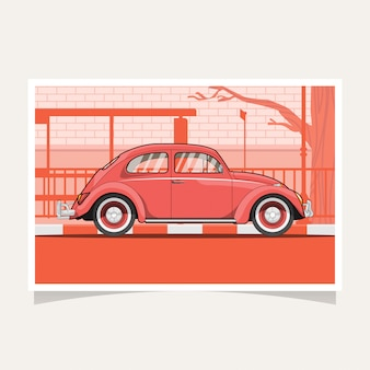 Classic red car conceptual design flat illustration vector