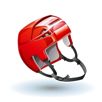 Classic red ice hockey helmet.