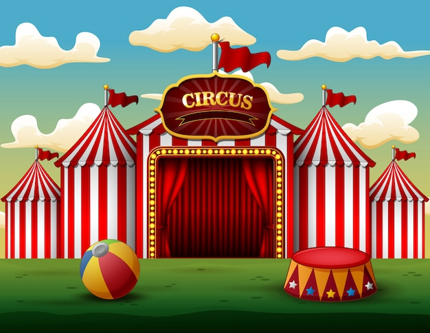 Classic red white circus tent with decorative sign board