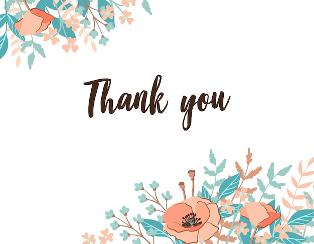 Classic and refind thank you card with flower frame background