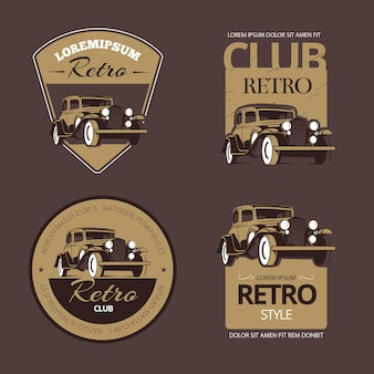 Classic retro cars. vintage labels set. vehicle old, collection emblem and badge illustration