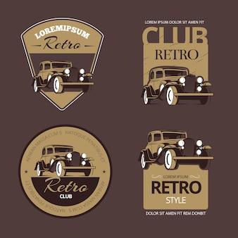 Auto retrò classiche. set di etichette vintage. veicolo vecchio, emblema della raccolta e illustrazione del distintivo