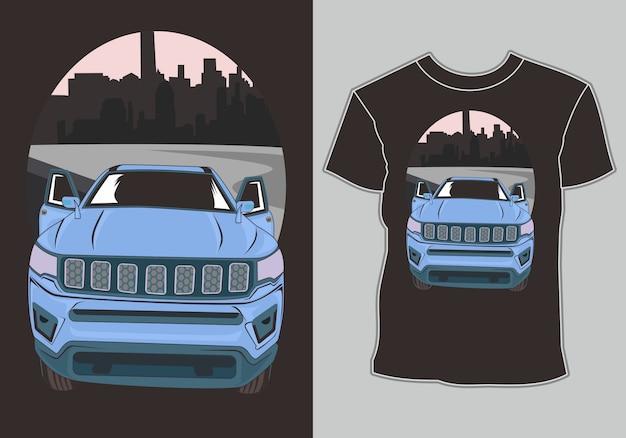 Классический, ретро, винтажный автомобиль на окраине города, изображение футболки