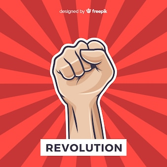 Classic revolution composition with fist