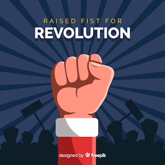 Classic revolution composition with raised fist