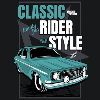 Classic rider style, illustration of a classic car