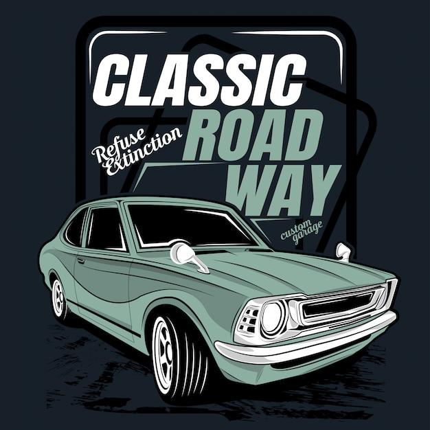 Classic road way, illustration of a classic car