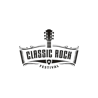 Classic rock guitar emblem logo design inspiration