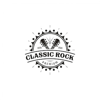 Classic rock guitar emblem logo