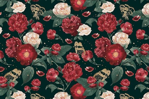 Классические романтические красные розы с цветочным узором акварельные иллюстрации