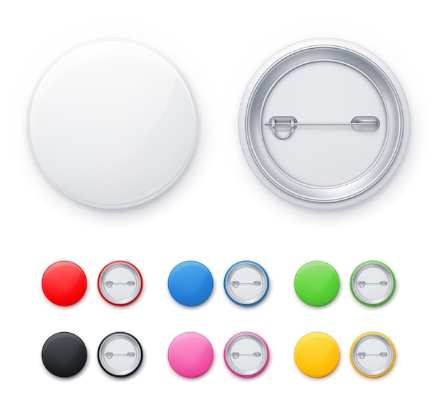 Classic round pin button in 7 different colors.