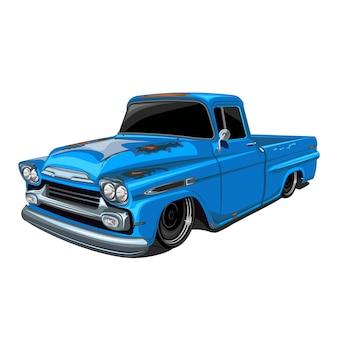 Classic rust pickup truck illustration