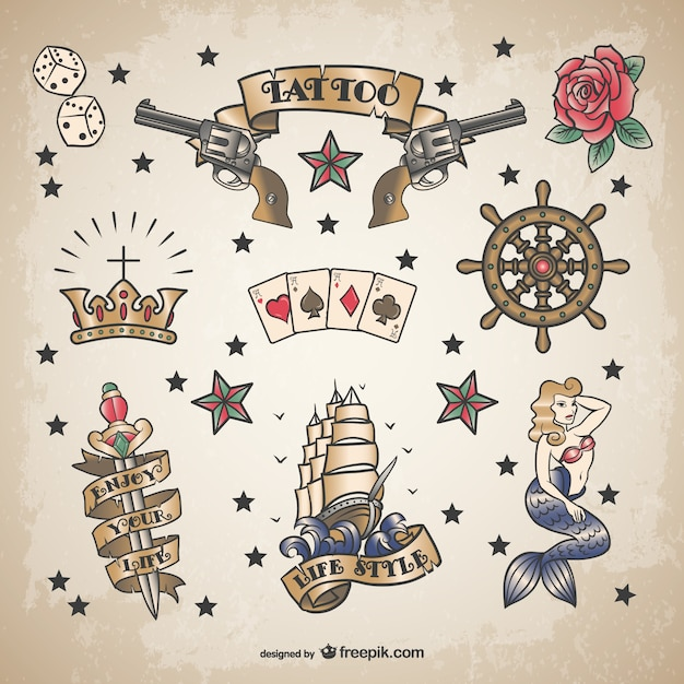 Classic sailor tattoo set