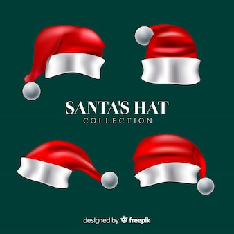 Classic santa's hat collection with realistic design