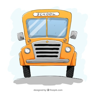 Classic school bus with hand drawn style