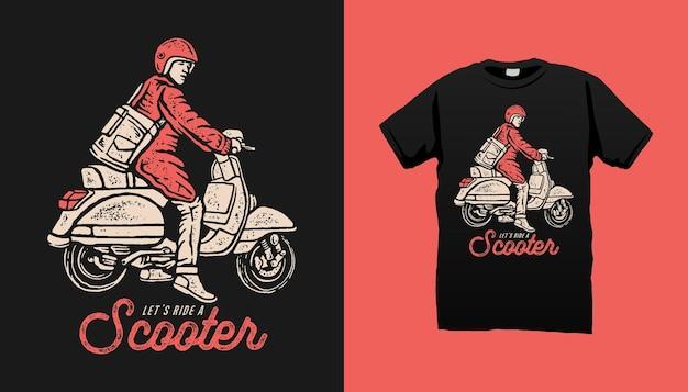 Классический скутер иллюстрация