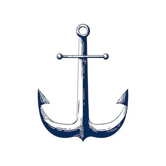 고전적인 바다 앵커 벡터 일러스트 레이 션. 항해 선박 계류 장치, 흰색 배경에 고립 된 전통적인 선박 액세서리. 전통적인 선원 문신 흑백 디자인. 요트 클럽 로고 타입 아이디어.