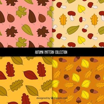Classic set of hand drawn autumn patterns