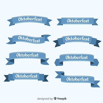Classic set of oktoberfest ribbon with flat design