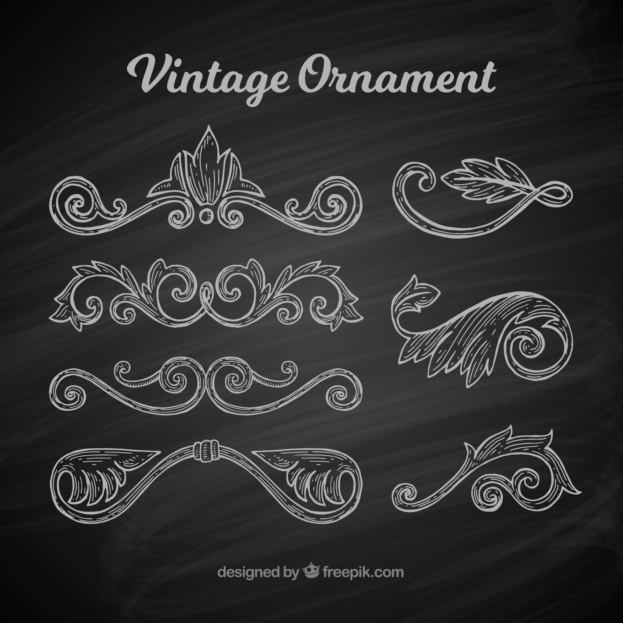 Classic set of vintage ornaments with balckboard style