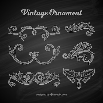 Classic set of vintage ornaments with blackboard style