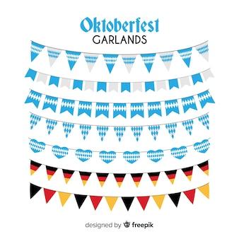 Classic set of oktoberfest garlands with flat design