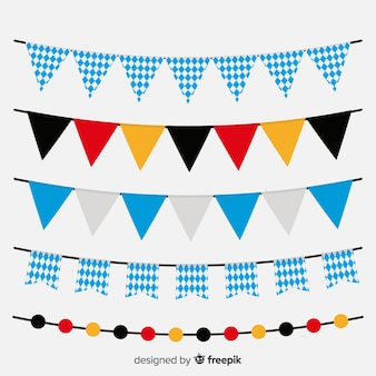 Classic set of oktoberfest garlands with flat design