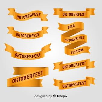 Classic set of oktoberfest ribbon with flat design