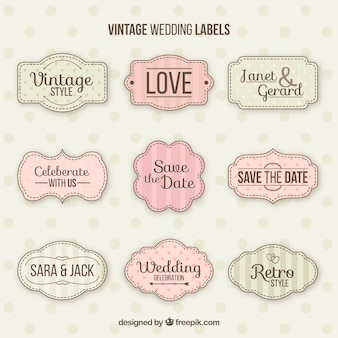 Classic set of vintage wedding badges