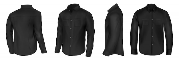 Classic shirt of black silk with long sleeves and pockets on chest in half turn front, side and back