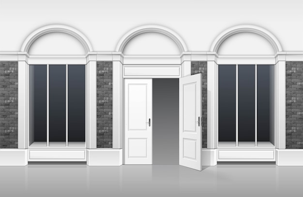 古典的なショップブティックの建物の店頭にガラスのwindowsショーケース、開いたドア、白い背景で隔離の名前のための場所