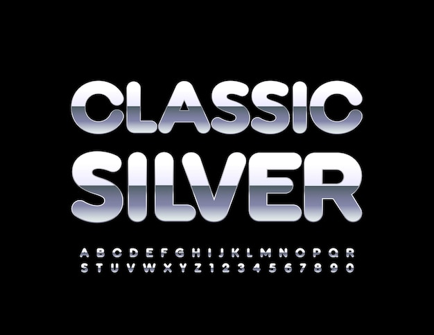 Classic silver alphabet set reflective metallic font shiny chrome letters and numbers set