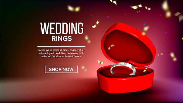 Golden Wedding Rings In Realistic Style Vector Free Download