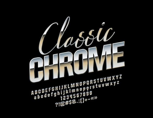 Classic silver font elegant metallic alphabet letters numbers and symbols