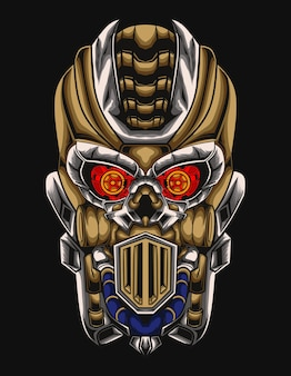 Classic skull mecha head illustration