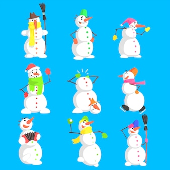 Classic snowmen made of three snowballs character set