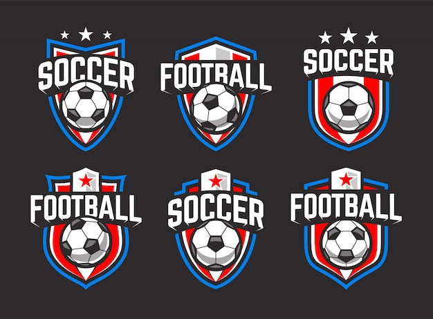 Классические футбольные эмблемы. синий, красный и белый цвета на черном фоне. векторный набор ретро эмблемы футбола.