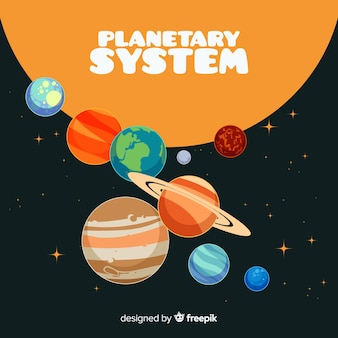 Classic solar system scheme with flat deisgn