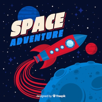 Classic space rocket composition with vintage style Premium Vector