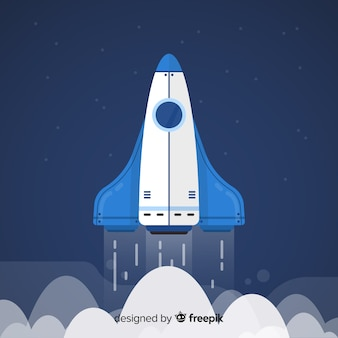 Classic space rocket with flat design