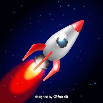 Classic space rocket with realistic design
