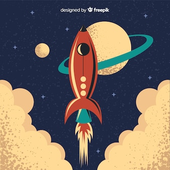 Classic space rocket with vintage style