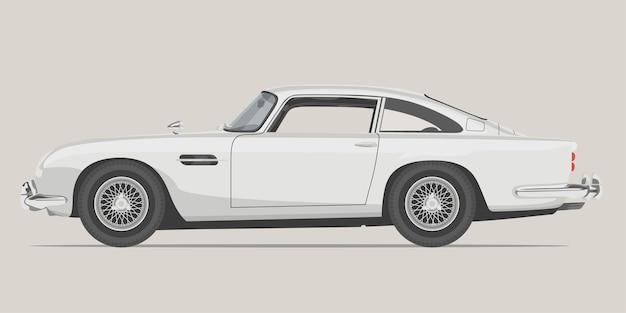 古典的なスポーツカーの側面図詳細図