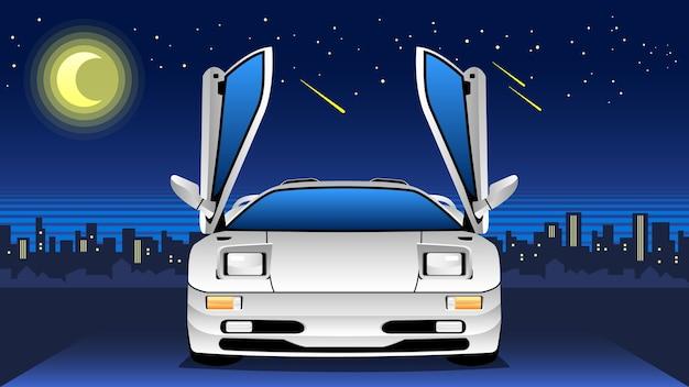 Classic sportcar with night skyline