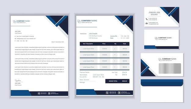 レターヘッドテンプレート、請求書、名刺を使用したクラシックな文房具ビジネスの企業ブランディングデザイン。
