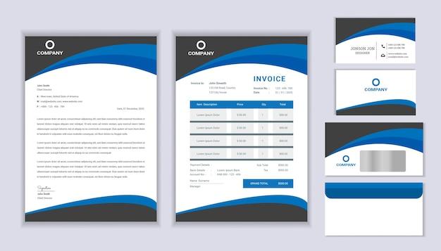 レターヘッドテンプレート、請求書、名刺を使用したクラシックな文房具ビジネスのコーポレートブランディングデザイン。